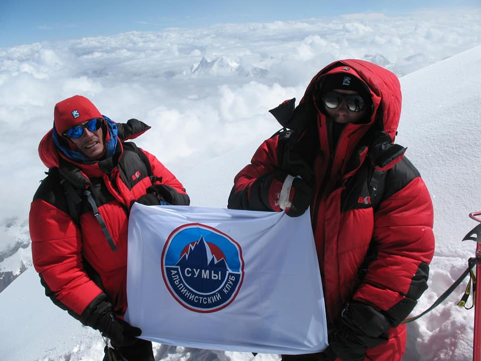 Сергій Бублик і Володимир Рошко на вершині Гімалчулі, 7 893 метрів