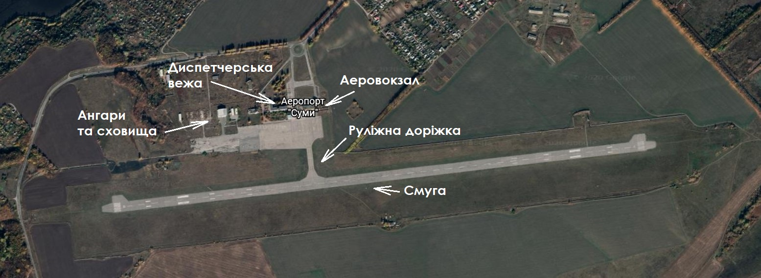 Схема аеропорту в Сумах